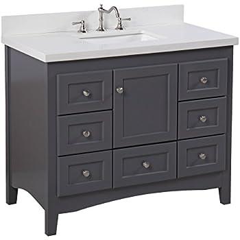 Abbey 42-inch Bathroom Vanity (Quartz/Charcoal Gray ...