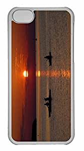 iPhone 5C Case, Personalized Custom Beach Scene Sunset 3 for iPhone 5C PC Clear Case
