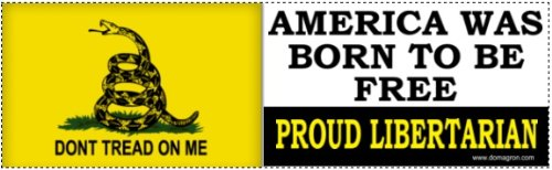 DOMAGRON America Was Born To Be Free Gadsden Liberty Tea Party Bumper Stickers (Don't Tread on Me Bumper Stickers)