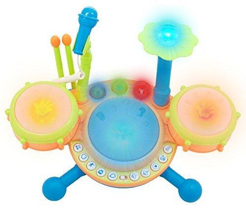 TECHEGE Toys Learn N Play Dynamic Drum Set Makes Real Dru...