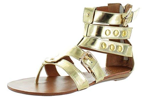 omen's Pony Hair Gladiator Sandals Gold Size 10 ()