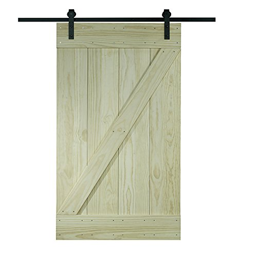 LTL Home Products 8BDSW3680KDZ Pinecroft Solid Wood Ready to Assemble Interior Barn Door Kit, 36″ x 80″, Unfinished Pine