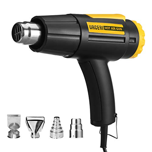- URCERI Heat Gun for Crafts 1600W with 4 Nozzles and 2 Air Flow Speeds Lightweight Hot Air Gun Kit, Temperature Range 100℃ / 550℃ (110V 60Hz, Model L501882)