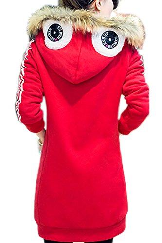 Casual sueltos con capucha lana abrigo abrigos de la mujer Red