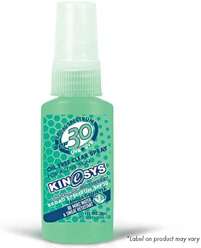 KINeSYS SPF 30 Vanilla-Green Tea Scented Clear Spray Sunscreen, Oil & Alcohol Free, Face & Body, Hypoallergenic (Travel size - 1oz)