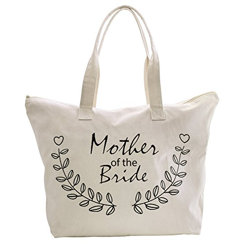 ElegantPark Mother of The Bride Tote Bag for Wedding Gifts Zip 100% Cotton