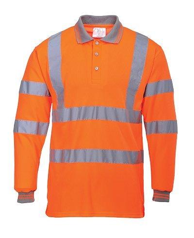 Portwest US277ORRM Regular Fit Hi-Vis Long Sleeve Polo Shirt, Medium, (Medium Regular Hi Visibility)