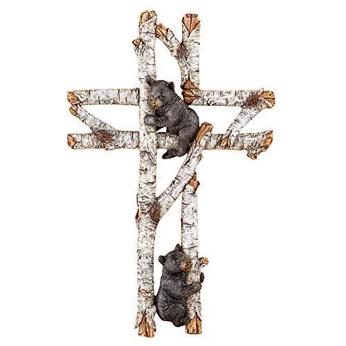 Collections Etc Woodland Climbing Bears Tree Branch Wall Cross Features Plenty of Rustic Details and Hook on Back for Easy Hanging