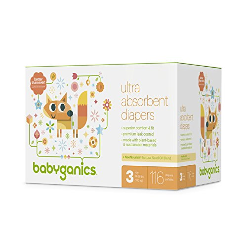 100 Count Size 1 Babyganics Ultra Absorbent Disposable Baby Diapers