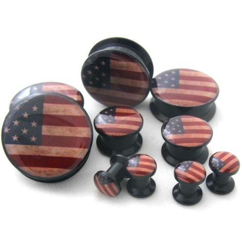 1 Pair of 3/4 Gauge (20mm) USA Flag Plugs - Single Flared (AC142)