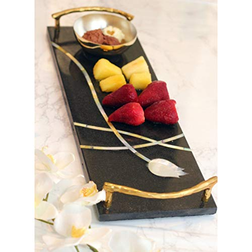 Peetal New York Designer Luxury Handmade Black Granite and Mother of Pearl Inlay Chip and Dip Set (Best Spin Mop In India)