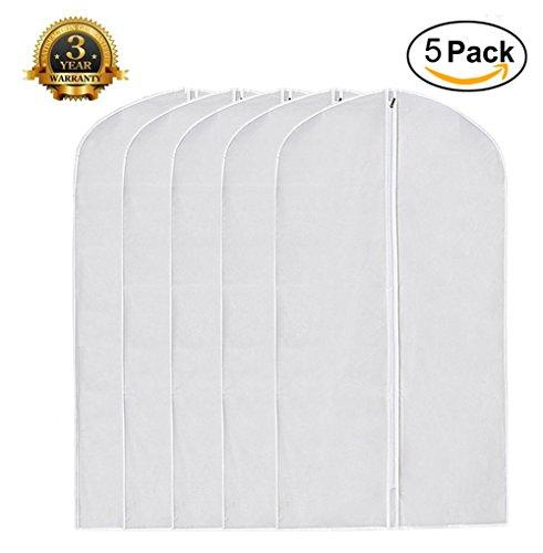 Garment Bag Pack of 5, Full Zipper Dust Suit Cover Breathable White Garment Clothes Bags (5, CLEAR) (Plastic Trouser Zipper)