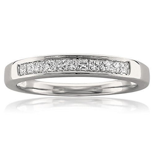 14k White Gold Princess-cut Diamond 11-stone Bridal Wedding Band Ring (1/4 cttw, J-K, SI1-SI2), Size 8.5