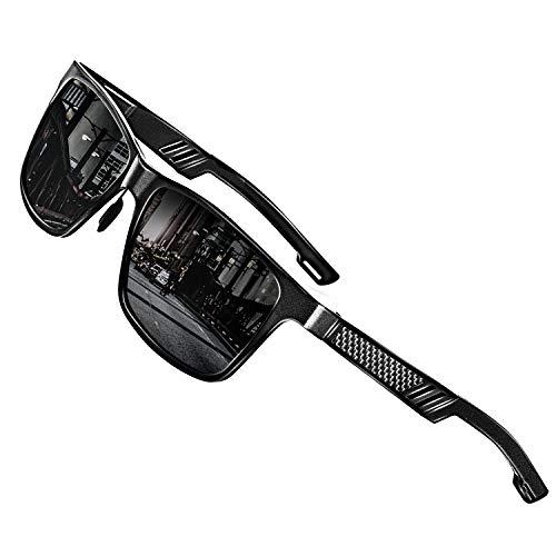 ROCKNIGHT Driving Sunglasses for Men Polarized UV Protection Al-Mg Metal Frame Sunglasses Lightweight Black Sunglasses Outdoor