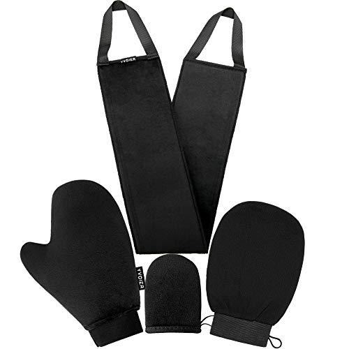 YVOIER Selbstbräuner Handschuh Applikator Kit 4 In 1 Selbst Applikator Set Mit Exfoliating Handschuh, Selbstbräuner Handschuhe, Selbstbräunender Rückenapplikator, Gesichtshandschuh Für Selbstbräuner