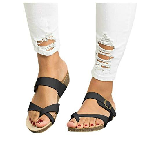 (Women's Cross Toe Double Buckle Strap Cork Flip Flops Leather Flat Gladiator Sandals)
