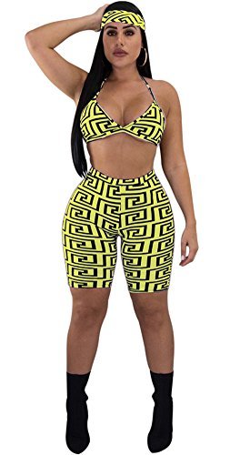 Women Two Piece Outfit Halter Print Sport Bra Crop Top Legging Short Pant Set with Headband Yellow XL (2 Piece Headband)