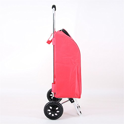 Handcart Hand Truck Insulation Space Aluminum Tube Trolley Folding Pull Rod Luggage Cart Portable Home Waterproof Shopping Cart 25 Kg Load (Color : Pink) by Hw Ⓡ Handcart (Image #2)