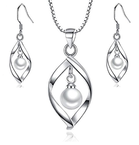 Maylena Belle Rhodium Plated Sterling Silver Cultured Freshwater Pearl Pendant Necklace and Earrings Set by Maylena Belle