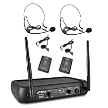Pyle-Pro PDWM2145 VHF Wireless Microphone System, 2 Headset/Lavalier Mics, 2 Bodypacks, Fixed Frequency
