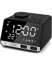 InLife Despertador Radio FM 4.2 Pulgadas Reloj Alarma Digital con Alarma Doble 2 Puertos USB Tarjeta TF Bluetooth Pantalla LCD Regulable y Termómetro de Interio Función Snooze