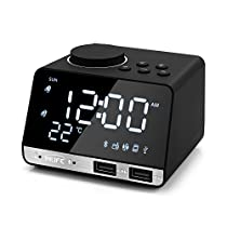 INLIFE Digital Alarm Clock with Wireless Bluetooth Speaker, Dual Port USB Charger, Snooze, AUX TF Card Play, FM Radio, Thermometer, Large Mirror LED Dimmable Display for Bedroom, Kitchen, Desk