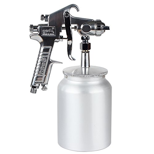 High Pressure Spray Gun with 1000cc Cup, 2.5mm Nozzle, sliver by Gedu