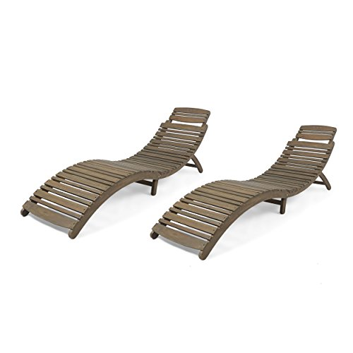 Great Deal Furniture 305101 Tycie Outdoor Acacia Wood Foldable Chaise Lounge (Set of 2), Gray, Finish (Gray Lounge)