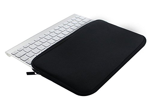 Wanty Black Color Neoprene New Portable Zipper Carry Case Cover Sleeve Skins Pouch Bags for Logitech Easy-Switch K810 / K811 and Apple MC184LL/B MC184CH and MLA22LL/A Wireless Bluetooth Keyboard