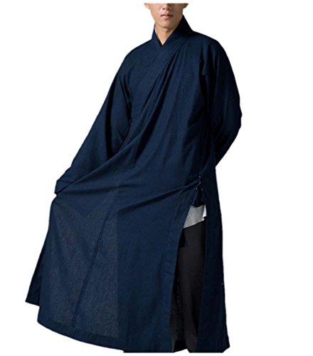 ns Long Gown Buddhist Meditation Monk Robe Dark Blue (L) ()