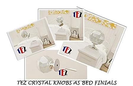 Con/çu Britannique Marque Garanti Fixation pour armoires Qualit/é Sup/érieure TEZ 60mm Bouton en Cristal Massif Poign/ée Poign/ée Finial Base au Fini Chrome