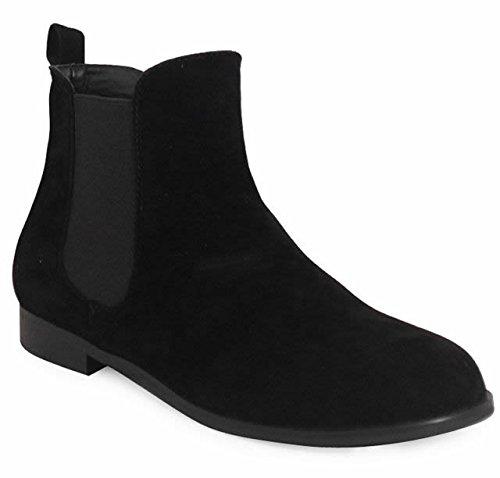 Nuevo Chelsea traje de neopreno para mujer de LoudLook de tobilleras con botas de elástico de gamuza en el talón de piel bajo 3-8 UK Tamaño de zapatos Negro - negro