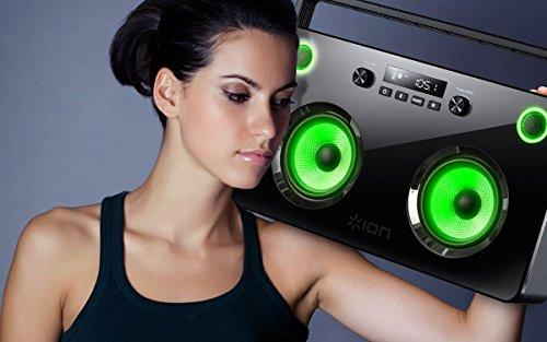 ION Audio Spectraboom BoomBox Portatile senza Fili con Altoparlanti Stereo Illuminati, Bluetooth, Radio, Batteria Ricaricabile e Powerbank con Porta USB