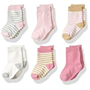 Touched by Nature Baby Organic Cotton Socks, Girl Stripes 6Pk, 0-6 Months