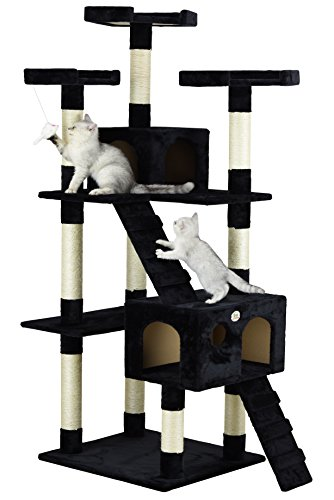 Go Pet Club Cat Tree, 33-Inch by 22-Inch by 72-Inch, Black (Cat Tree For Multiple Cats)