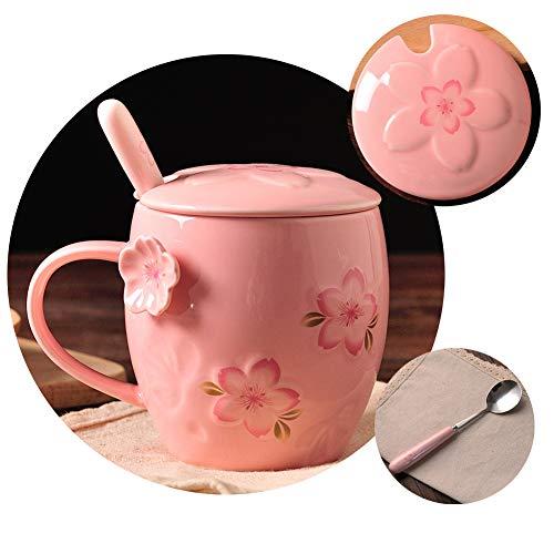 (Ceramic Coffee & Tea Mug,Spoon,Lid, Handmade cherry blossom Pattern,Cup for Women, Girls, Wife, Mom, Grandma, 13 Ounce(Pink) )