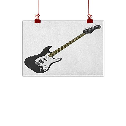 Sunset glow Wall Painting Prints Guitar,Bass Four String Rhythm Music Rock and Roll Element Detailed Illustration, Black White Caramel 36