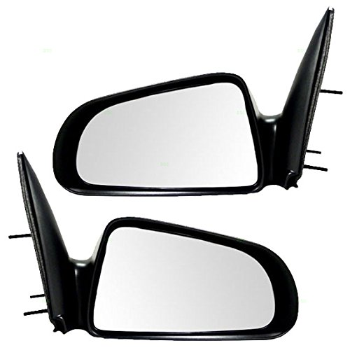Driver and Passenger Manual Side View Mirrors 5x7 Textured Replacement for Dodge Mitsubishi Pickup Truck 55077621AD 55077620AD