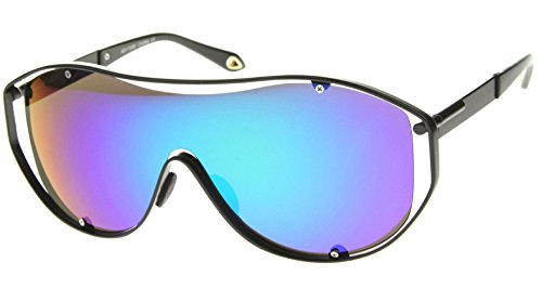 XL Oversized Shield Goggles Wrap Around Sunglasses (Black Frame, Blue & Green Iridium - Retro Ski Sunglasses