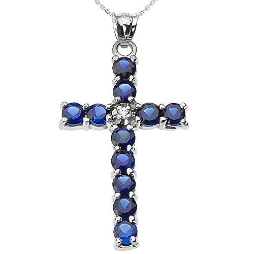 Collier Femme Pendentif 10 Ct Or Blanc Diamant et Bleu Oxyde De Zirconium Croix (Livré avec une 45cm Chaîne)