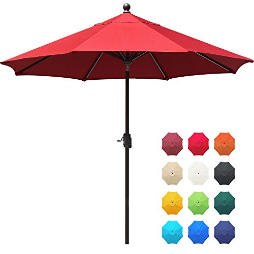 EliteShade Sunbrella 9Ft Market Umbrella Patio Outdoor Table Umbrella with Ventilation and 5 Years Non-Fading Top,Red (For Umbrella Sale Red)