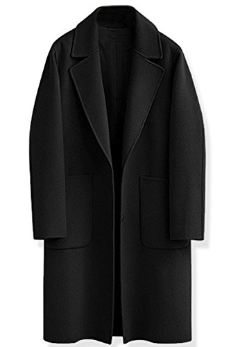Femmes Ouvert V Manteau Revers Hiver Solides Devant Des Tweed Un 4twUp4