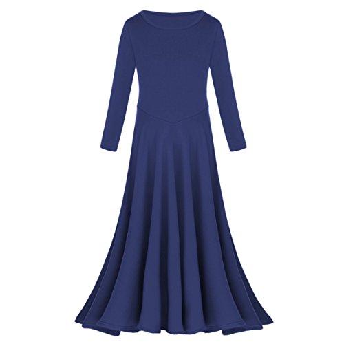 IBTOM CASTLE Little/Big Girls Long Sleeve Liturgical Praise Lyrical Dance Dress Loose Fit Full Length Dancewear Costume Ballet Praisewear Navy 11-12 Years -