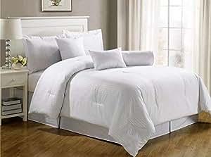 Luxury Self Stripe White King Set Of 4-piece Bedding Set