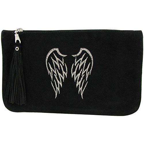 Borsa in Camoscio ricamato Due Angel Wings Colore Nero