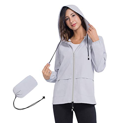 JTANIB Rain Jackets for Women, Lightweight Zip Up Hiking Travel Cycling Hooded Waterproof Raincoat S Grey