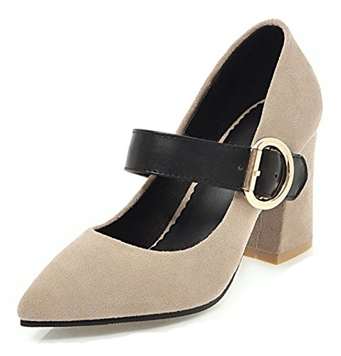 Aisun Womens Stylish Low Cut Pointed Toe Dressy Buckled High Block Heel Pumps Shoes With Ankle Strap Beige QtCioMKdkl