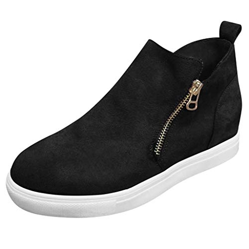 VESNIBA Women's Flat Sandals Casual Zipper Single Shoes XL Short Boots Student Running Shoes Black ()
