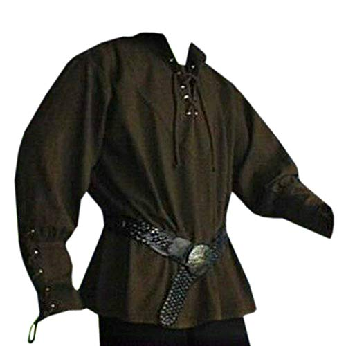 (Lynwitkui Mens Medieval Costumes Pirate Shirt Cosplay Long Sleeve Lace Up Vintage Viking Blouse Tops Army Green)