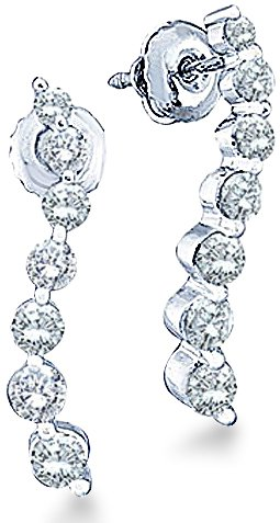 14k White Gold Round 7 Seven Diamond Dangle Twist Journey Earrings (1/4 cttw) (Journey Round Diamond Earrings)